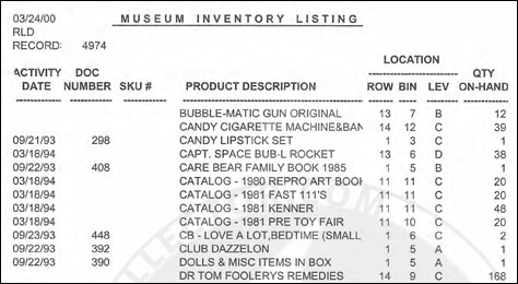 Kenner Museum Inventory List Part 5 – Final Section ...