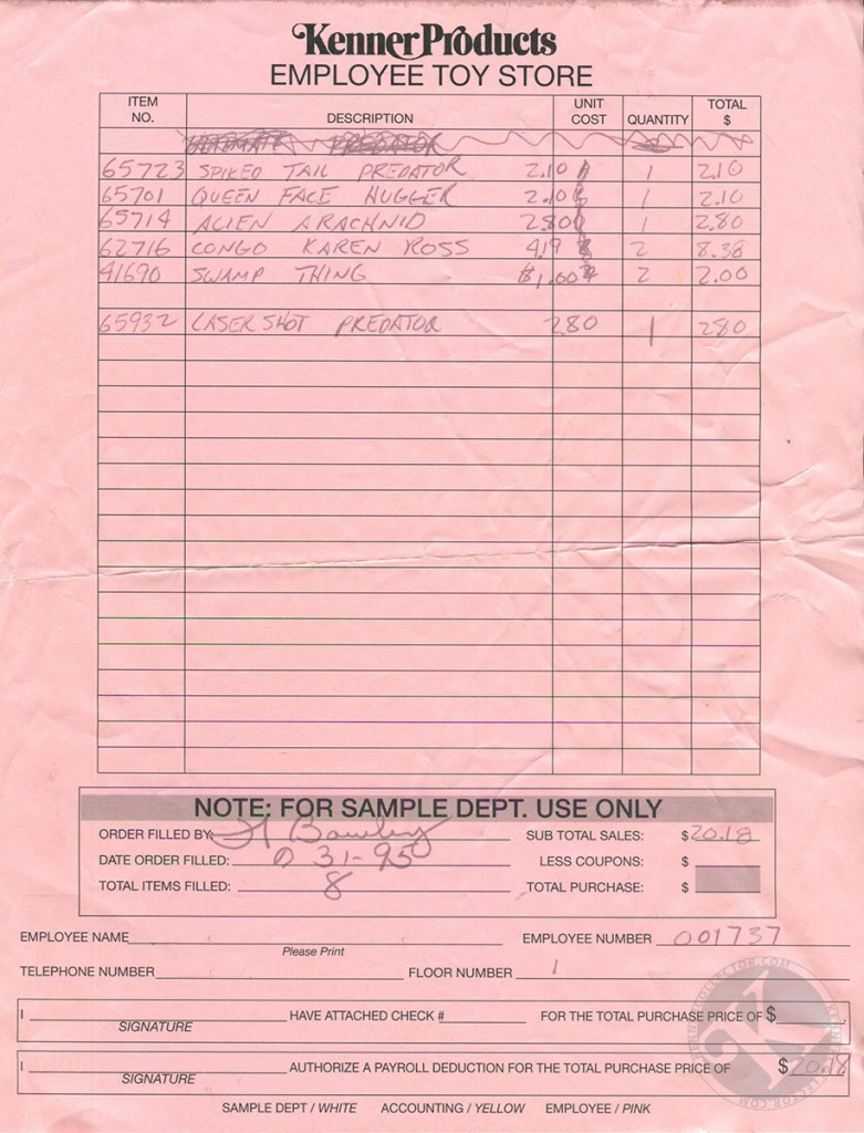 Kenner Employee Toy Store Receipt