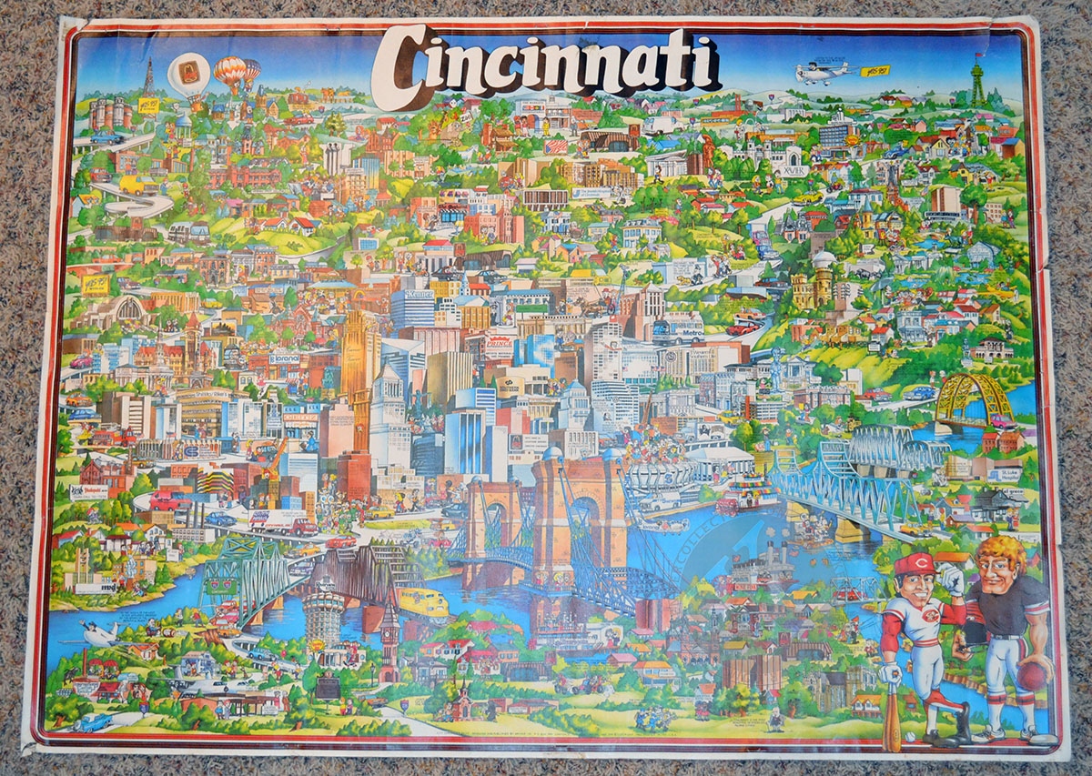Cincinnati Character Map Featuring Kenners Kroger Building